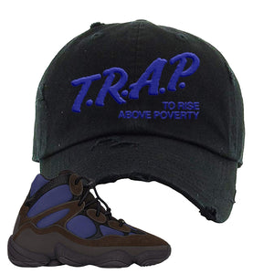 Yeezy 500 High Tyrian Distressed Dad Hat | Brown, Trap To Rise Above Poverty