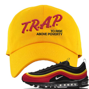 Air Max 97 Black/Chile Red/Magma Orange/White Sneaker Gold Dad Hat | Hat to match Nike Air Max 97 Black/Chile Red/Magma Orange/White Shoes | Trap to Rise Above Poverty