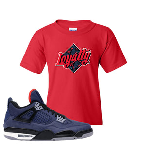 Jordan 4 WNTR Loyal Blue Loyalty Red Sneaker Hook Up Kid's T-Shirt