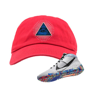 KD 13 Home Dad Hat | Red, All Seeing Eye