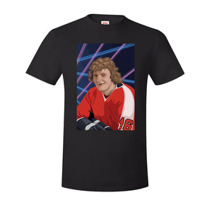Bobby Clarke T-Shirt | Bobby Clarke Class Photo Black T-Shirt the front of this t-shirt has bobby clarke's class photo