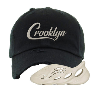 Yeezy Foam Runner Sand Distressed Dad Hat | Crooklyn, Black