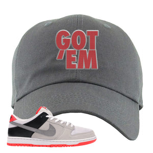 Nike SB Dunk Low Infrared Orange Label Got Em Dark Gray Dad Hat To Match Sneakers