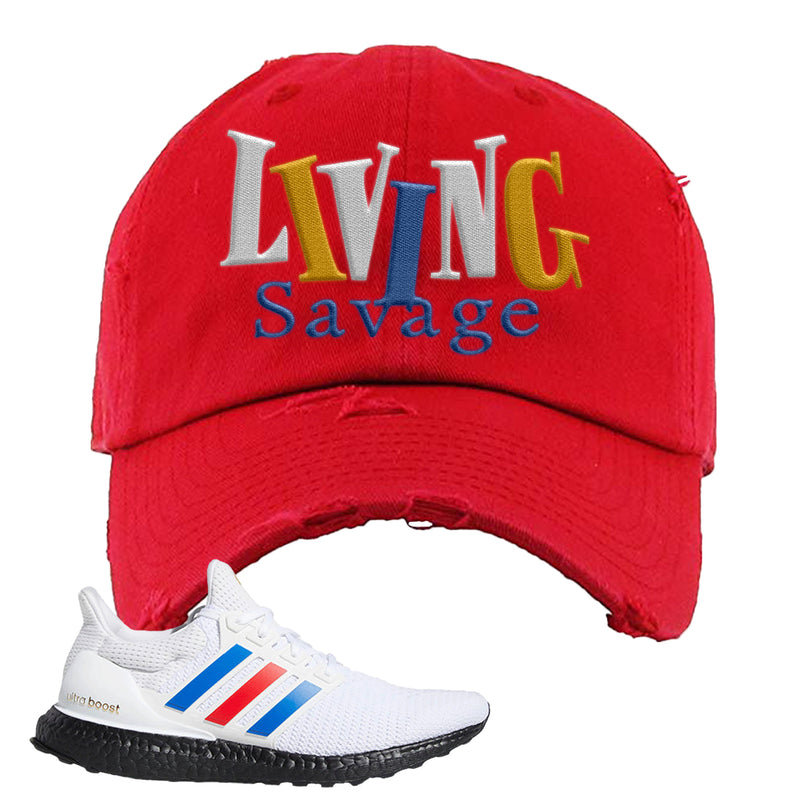 Ultra Boost White Red Blue Distressed Dad Hat | Red, Living Savage