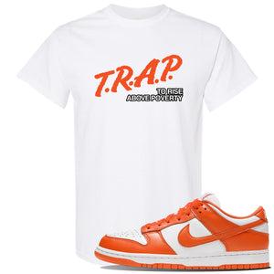 SB Dunk Low Syracuse T Shirt | White, Trap To Rise Above Poverty