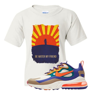 Air Max 270 React ACG Kid's T-Shirt | White, Be Water My Friend Samurai