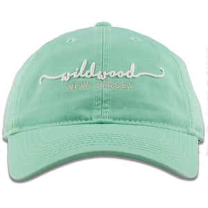 Wildwood, New Jersey Spearmint Green Script Youth-Sized Adjustable Baseball Cap