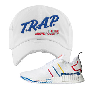 NMD R1 Olympic Pack Distressed Dad Hat | White, Trap To Rise Above Poverty