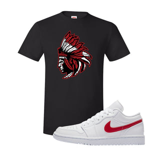 Air Jordan 1 Low White and Varsity Red T Shirt | Indian Chief, Black