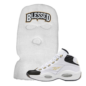 Question Mid Black Toe Sneaker White Ski Mask | Winter Mask to match Reebok Question Mid Black Toe Shoes | Blessed Arch