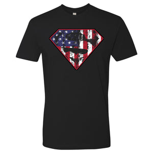 Standard Issue Diamond S Logo American Flag Distressed Black Grunt Life T-Shirt