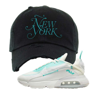 Air Max 2090 Pristine Green Distressed Dad Hat | Black, New York