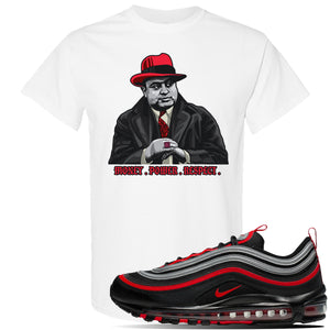Air Max 97 Black / Metallic Silver / University Red T Shirt | White, Capone Illustration