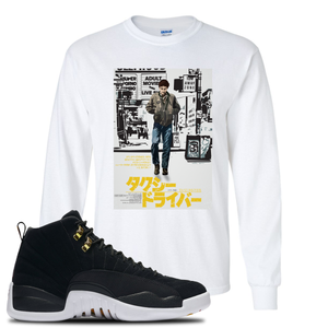 Japanese Poster Black Long Sleeve T-Shirt To Match Jordan 12 Reverse Taxi Sneakers
