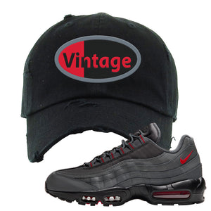 Air Max 95 Dark Gray and Red Distressed Dad Hat | Vintage Oval, Black