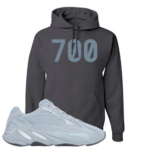 Yeezy Boost 700 V2 Hospital Blue 700 Sneaker Matching Charcoal Gray Pullover Hoodie