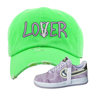 Air Force 1 P[her]spective Distressed Dad Hat | Neon Green, Lover