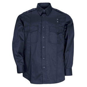 the Police Public Safety | Tactical Long Sleeve Navy Blue Button Down Uniform Shirt | Taclite PDU Class A Hidden Zipper Duty Shirt has flap pockets and a badge loop for police officers