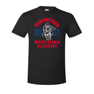 Simmons Wrestling Academy T-Shirt | Ben Simmons Wrestling Academy Black T-Shirt the front of this shirt has the ben simmons wrestling academy design