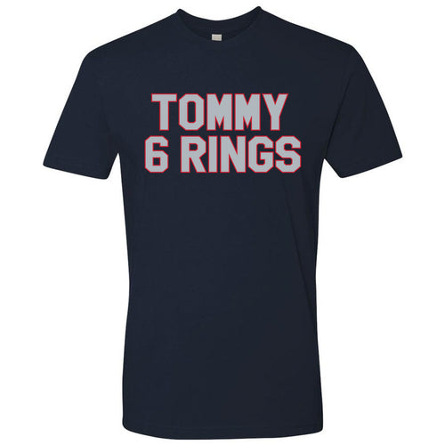 Printed on the front of the Tom  Brady Tommy 6 rings navy blue t-shirt are the words Tommy 6 Rings in gray and red