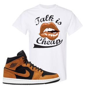 Air Jordan 1 Mid Wheat T Shirt | Talk Is Cheap, White