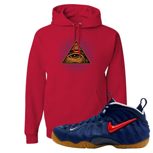 Air Foamposite Pro USA Hoodie | Red, All Seeing Eye