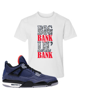 Jordan 4 WNTR Loyal Blue Big Bank Take Lil' Bank White Sneaker Hook Up Kid's T-Shirt
