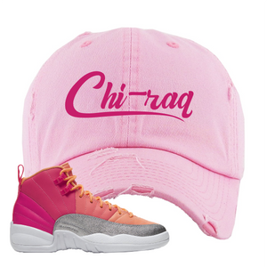 Air Jordan 12 GS Hot Punch Distressed Dad Hat | Chiraq, Light Pink