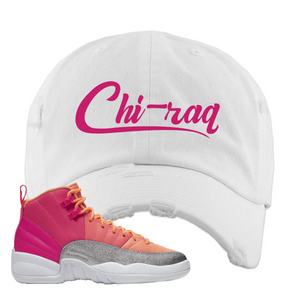 Air Jordan 12 GS Hot Punch Distressed Dad Hat | Chiraq, White