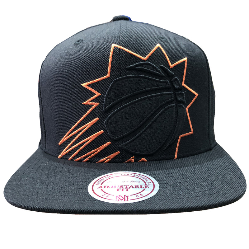Embroidered on the front of the phoenix suns snapback hat is a phoenix suns logo embroidered in black and orange