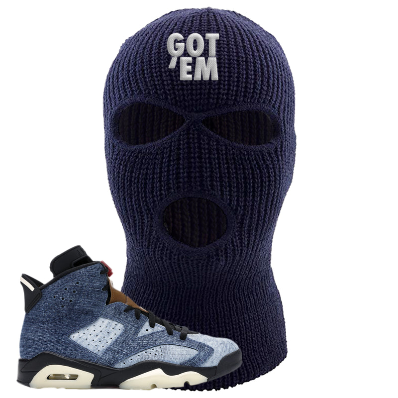 Jordan 6 Washed Denim Ski Mask | Navy Blue, Got Em