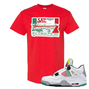 Jordan 4 WMNS Carnival Sneaker Red T Shirt | Tees to match Do The Right Thing 4s | Sal's Pizza Box
