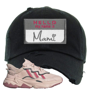 Adidas WMNS Ozweego Icy Pink Hello My Name is Mami Black Sneaker Hook Up Distressed Dad Hat