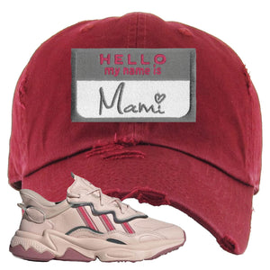 Adidas WMNS Ozweego Icy Pink Hello My Name is Mami Maroon Sneaker Hook Up Distressed Dad Hat