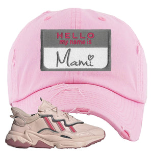 Adidas WMNS Ozweego Icy Pink Hello My Name is Mami Pink Sneaker Hook Up Distressed Dad Hat