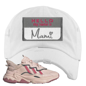 Adidas WMNS Ozweego Icy Pink Hello My Name is Mami White Sneaker Hook Up Distressed Dad Hat