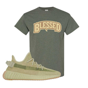 Yeezy 350 v2 Sulfur T Shirt | Heather Military Green, Blessed Arch