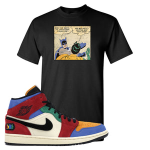 Jordan 1 Mid Fearless Blue The Great Slap Black Sneaker Hook Up T-Shirt