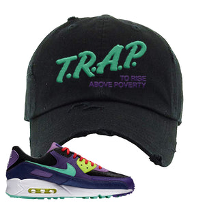 Air Max 90 Cheetah Distressed Dad Hat | Trap To Rise Above Poverty, Black