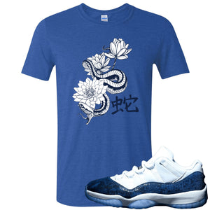 Jordan 11 Low Blue Snakeskin Snake With Lotus Flowers Heather Royal Blue T-Shirt