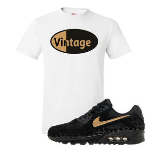 Air Max 90 Black Gold T Shirt | Vintage Oval, White