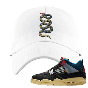 Union LA x Air Jordan 4 Off Noir Dad hat | Coiled Snake, White