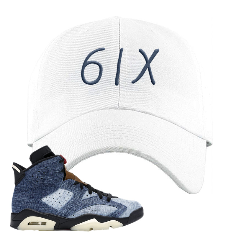 Jordan 6 Washed Denim Dad Hat | White, 6ix