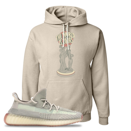 Yeezy Boost 350 V2 Citrin Non-Reflective The World Is Yours Statue Sandstone Sneaker Matching Pullover Hoodie