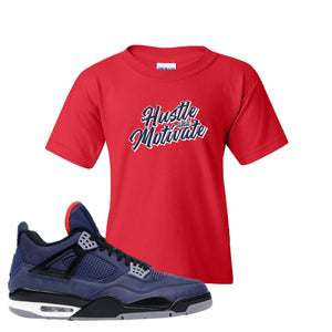 Jordan 4 WNTR Loyal Blue Hustle And Motivate Red Sneaker Hook Up Kid's T-Shirt