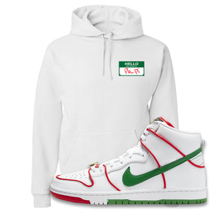 Paul Rodriguez's Nike SB Dunk High Sneaker White Pullover Hoodie | Hoodie to match Paul Rodriguez's Nike SB Dunk High Shoes | Hello My Name Is Papi