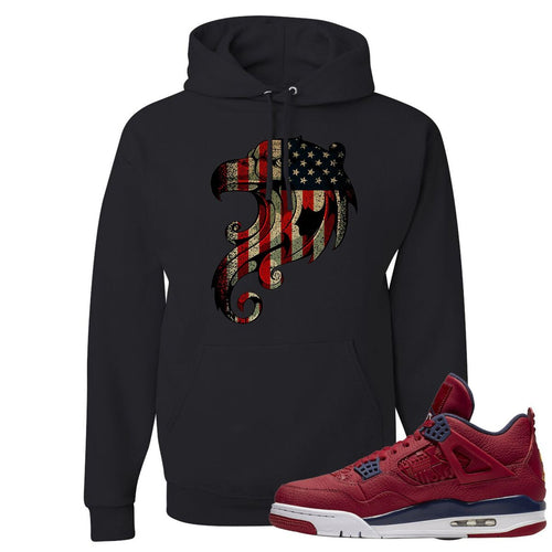 Jordan 4 FIBA Stars and Stripes Eagle Black Sneaker Matching Pullover Hoodie