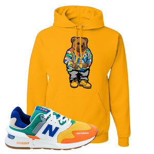 997S Multicolor Sneaker Gold Pullover Hoodie | Hoodie to match New Balance 997S Multicolor Shoes | Sweater Bear