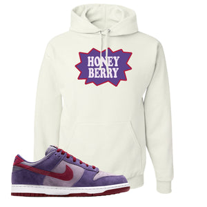 Dunk Low Plum Sneaker White Pullover Hoodie | Hoodie to match Nike Dunk Low Plum Shoes | Honey Berry