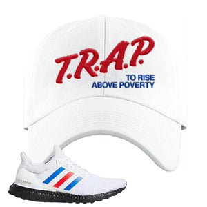 Ultra Boost White Red Blue Dad Hat | White, Trap To Rise Above Poverty